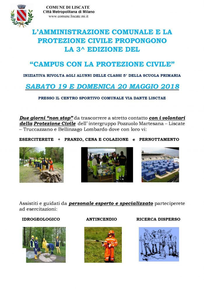 LOCANDINA CAMPUS PROTEZIONE CIVILE 2018