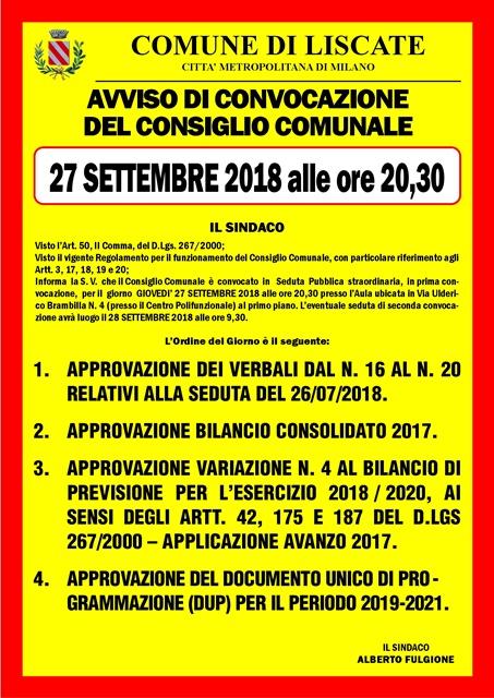 manifesto convocazione consigli ocomunale 27 settembre ordine del giorno